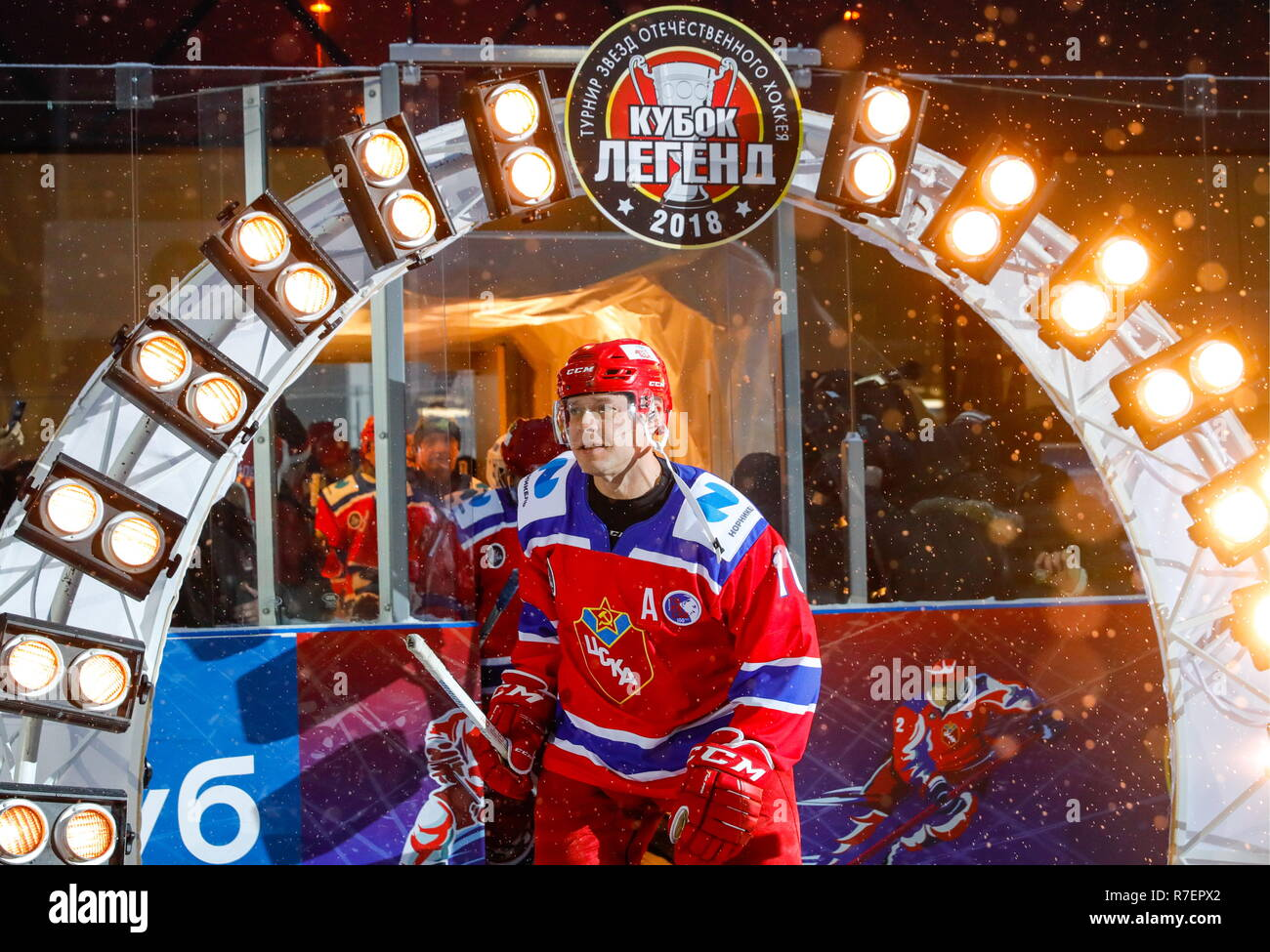 Moscow, Russia. 09th Dec, 2018. World Legends Hockey League President Pavel Bure of the CSKA team during the 5th Legends Cup ice hockey tournament at the Luzhki Club ice rink; held for retired senior ice hockey players, this year's tournament marks the 100th birth anniversary of Soviet ice hockey player and coach Anatoly Tarasov (1918-1995). Mikhail Japaridze/TASS Credit: ITAR-TASS News Agency/Alamy Live News - Stock Image