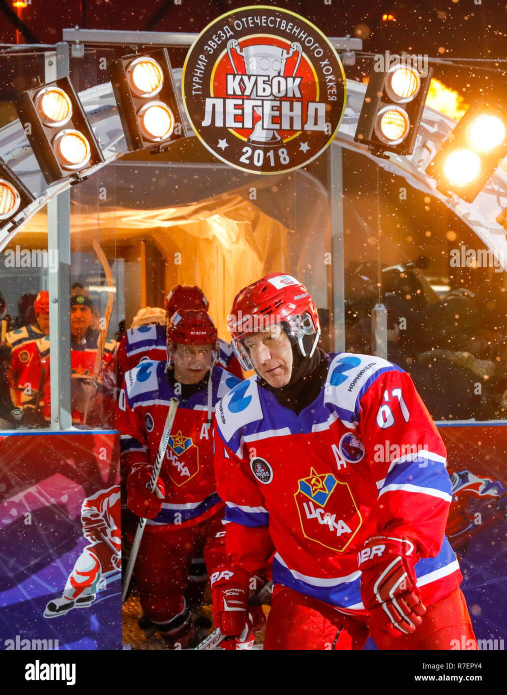 Moscow, Russia. 09th Dec, 2018. MMC Norilsk Nickel President and Board Chairman Vladimir Potanin (R) and World Legends Hockey League President Pavel Bure of the CSKA team during the 5th Legends Cup ice hockey tournament at the Luzhki Club ice rink; held for retired senior ice hockey players, this year's tournament marks the 100th birth anniversary of Soviet ice hockey player and coach Anatoly Tarasov (1918-1995). Mikhail Japaridze/TASS Credit: ITAR-TASS News Agency/Alamy Live News - Stock Image