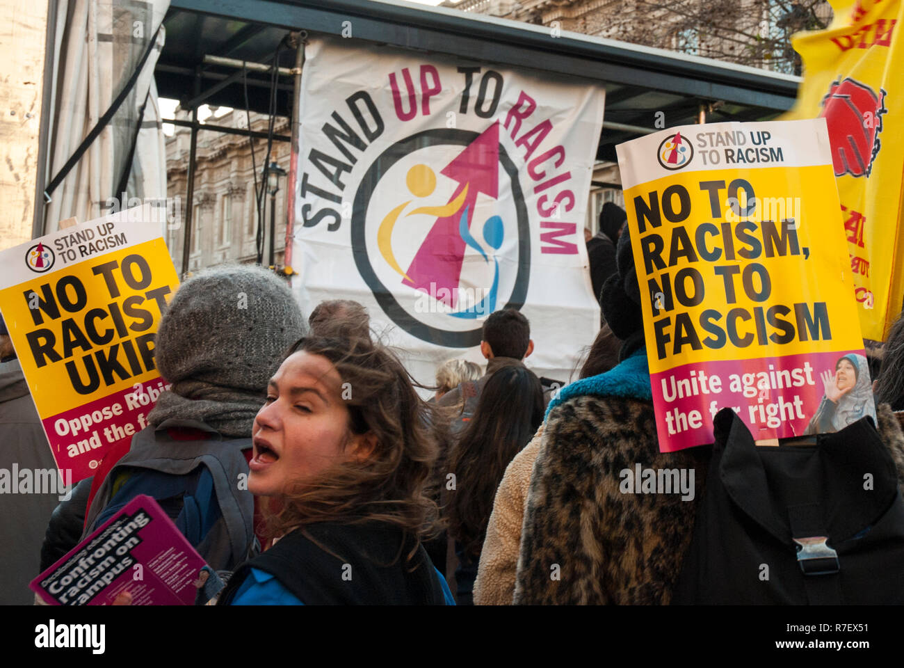 London, UK. 9th December 2018. Anti racist demonstration opposing the UKIP rally 'Brexit betrayal' led by Tommy Robinson AKA Stephen Yaxley-Lennon on the same day and place (Whitehall, London UK) The anti-racist demonstration had about 5,000 protesters while the right wing National UKIP demonstration had up to 1,000 protesters. - Stock Image