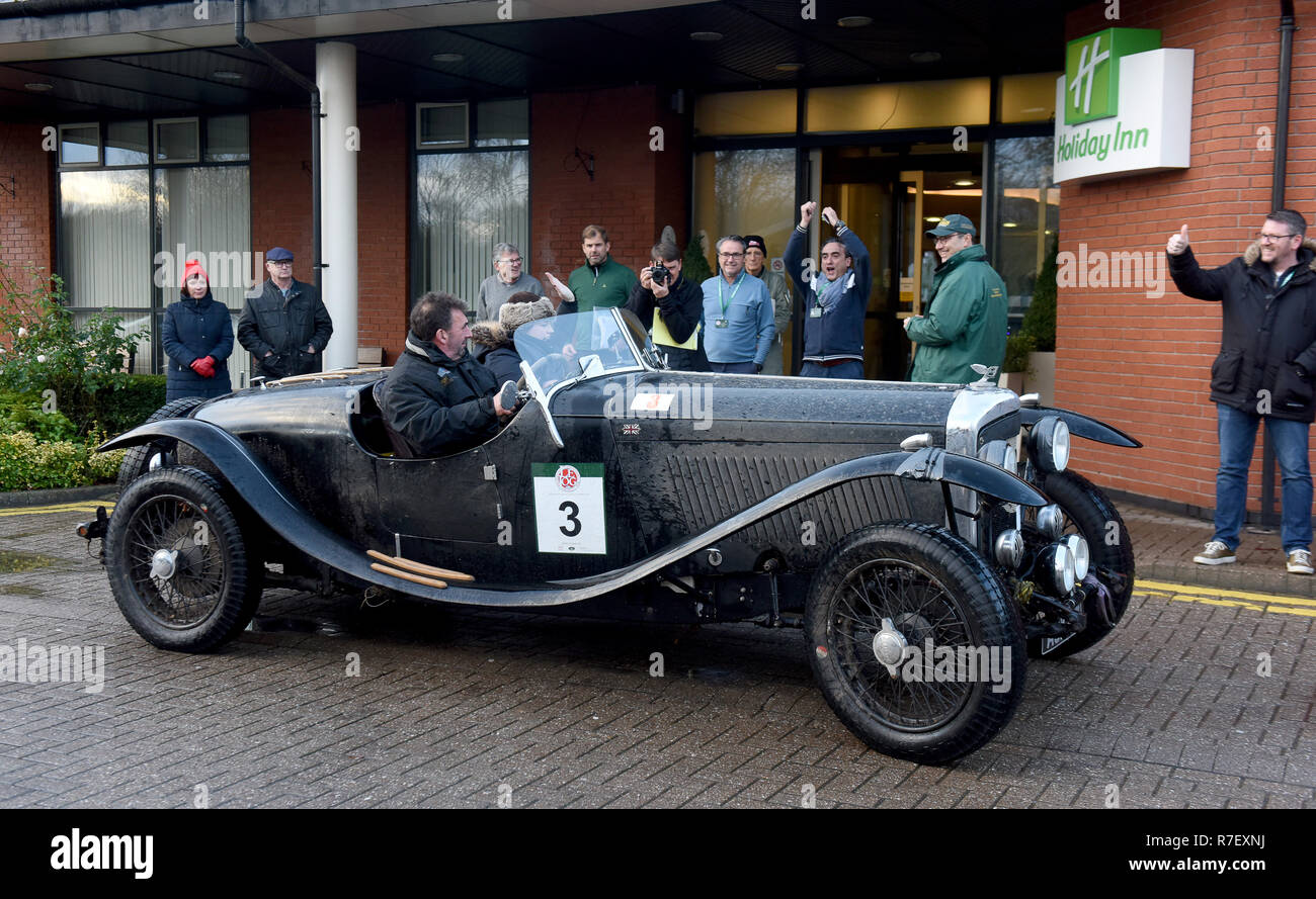 Telford, UK. 9th December 2018. Elliot Dale and navigator Charlotte Ryall starting the third leg of the Lands End to John O'Groats reliability rally in their 1937 4.25 litre Bentley Derby Special. The event organised by the Historic Endurance Rallying Organisation takes 4 days covering 1450 miles driving historic cars. Credit: David Bagnall/Alamy Live News - Stock Image