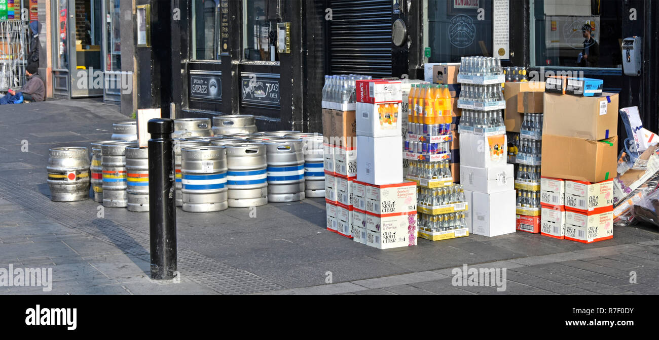 Newcastle city street scene early morning beer barrels & drink supply chain pavement delivery outside pub Newcastle upon Tyne and Wear England UK - Stock Image
