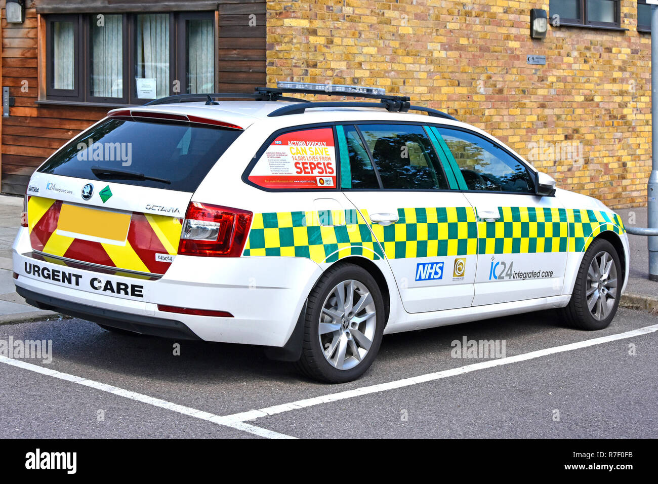Healthcare awareness poster advert promotion saving lives from Sepsis NHS parked doctors car window in National Health service hospital  England UK - Stock Image