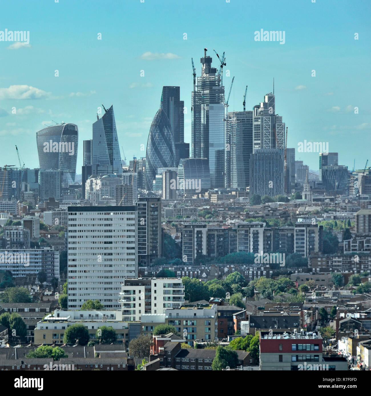 City of London cityscape skyline & landmark skyscraper building construction site work in progress East London urban landscape foreground England UK - Stock Image
