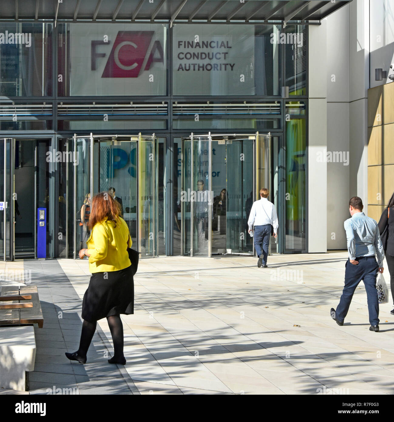 Financial Conduct Authority FCA modern London office building in International Quarter near Westfield & Olympic Park Stratford East London England UK - Stock Image