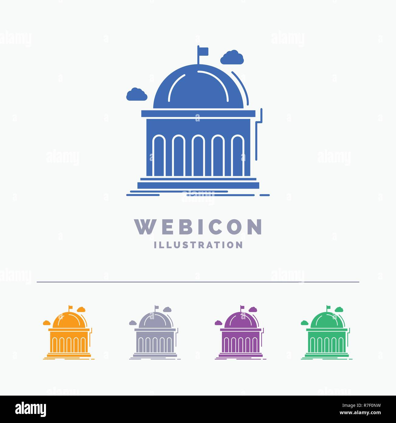 Library, school, education, learning, university 5 Color Glyph Web