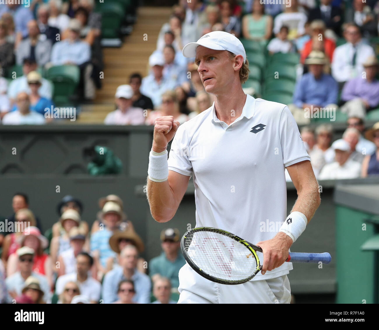 South African player Kevin Anderson celebrates  at Wimbledon, London, Great Britain, United Kingdom. - Stock Image