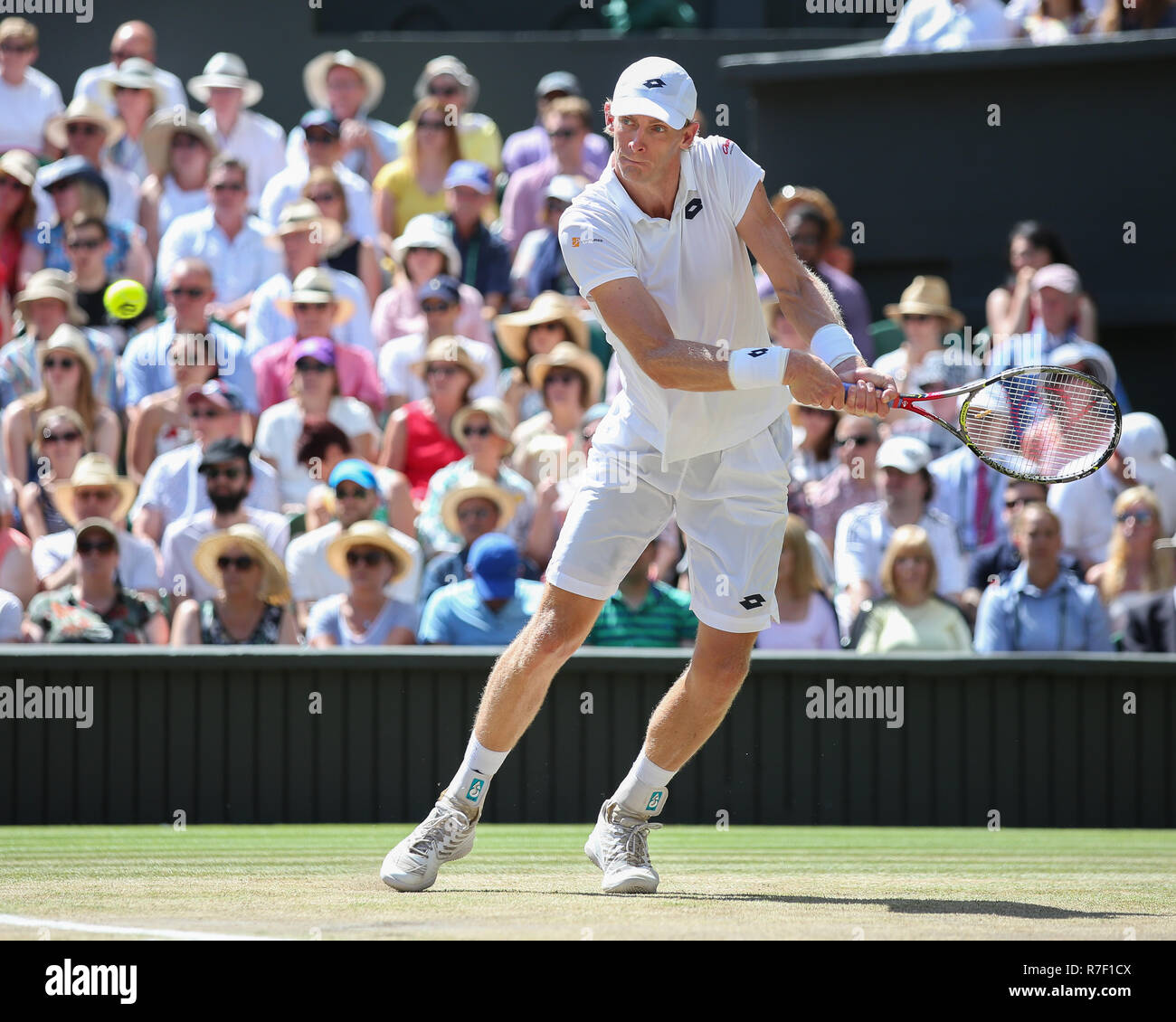 South African player Kevin Anderson in action  at Wimbledon, London, Great Britain, United Kingdom. - Stock Image
