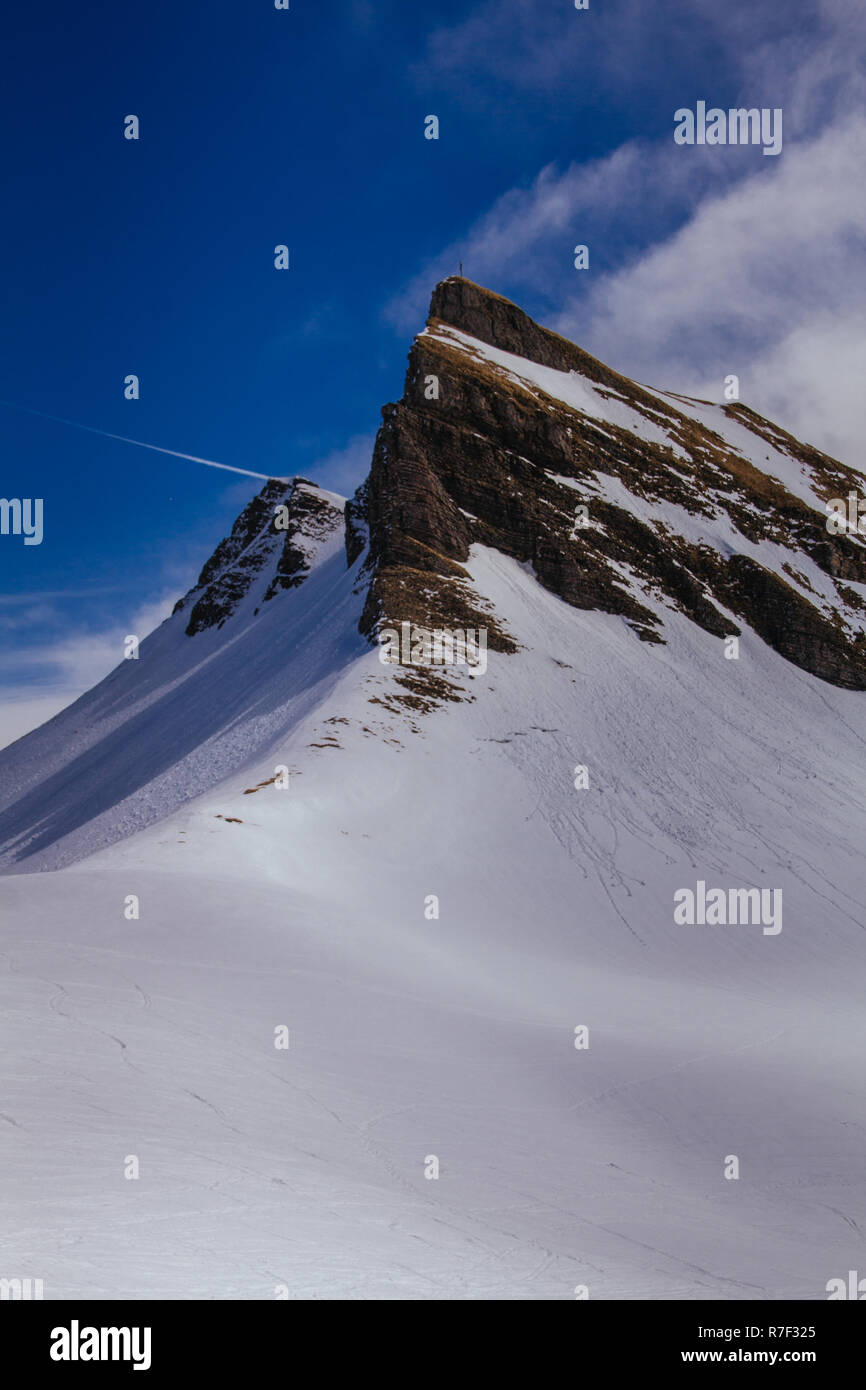 Snowy mountain landscape - Stock Image