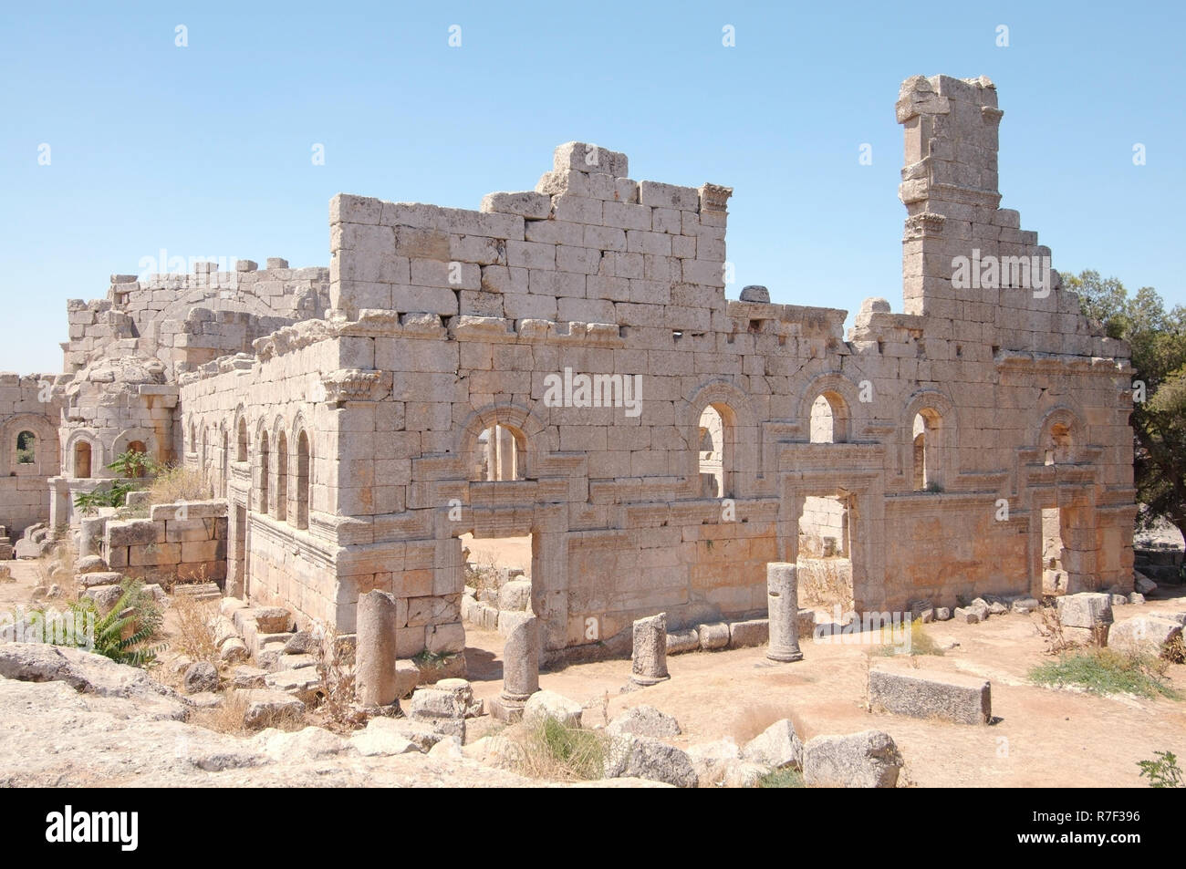 Ruins of the Church of Saint Simeon Stylites, Aleppo Governorate, Syria - Stock Image
