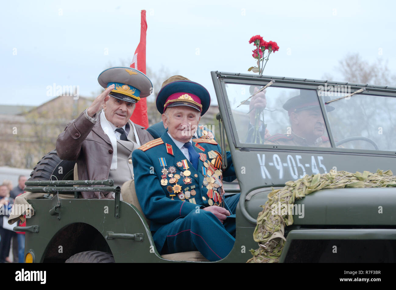 Parade commemorating the liberation of Odessa from the Nazis, Odessa, Ukraine - Stock Image
