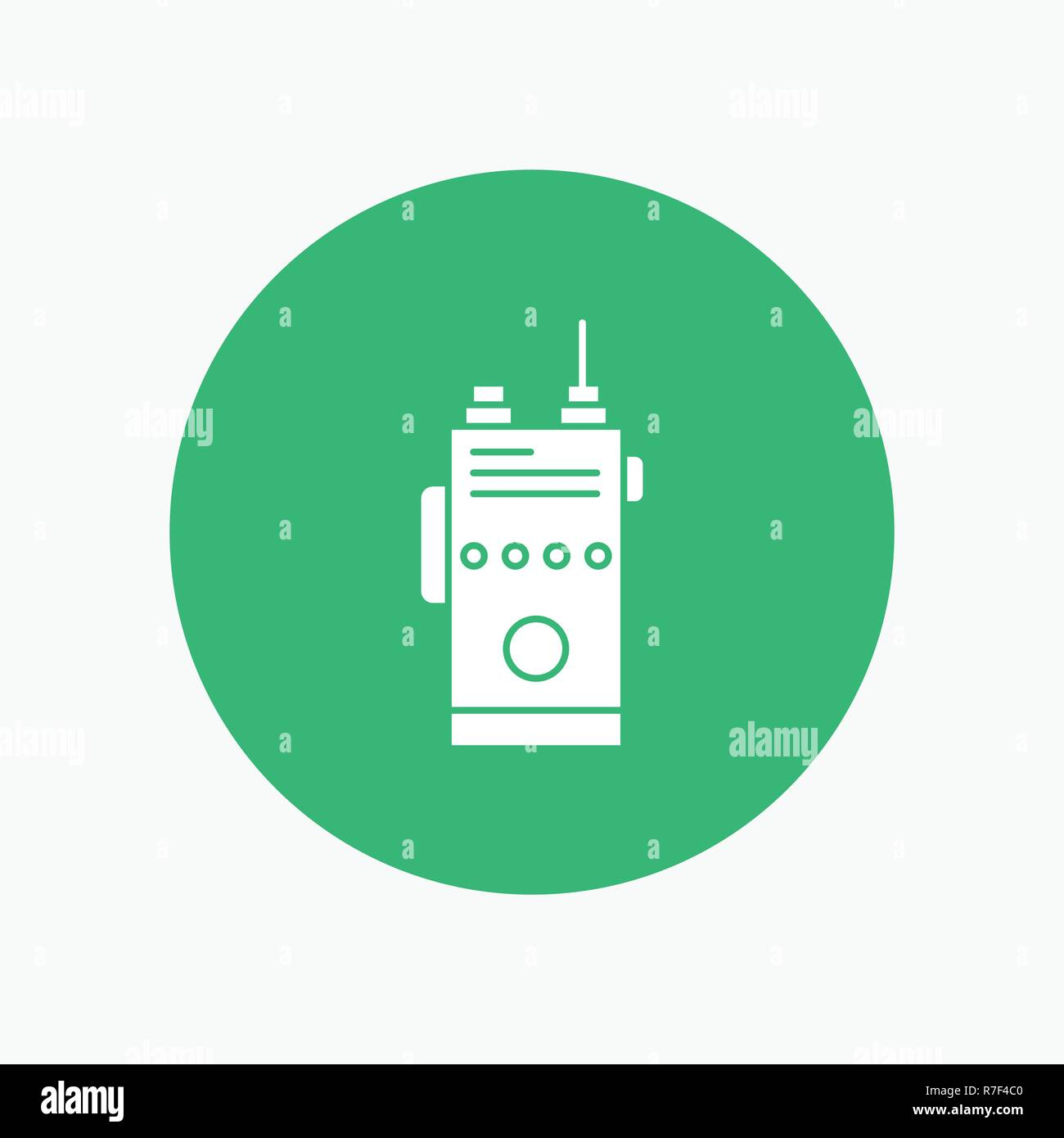 walkie, talkie, communication, radio, camping White Glyph Icon in Circle. Vector Button illustration Stock Vector