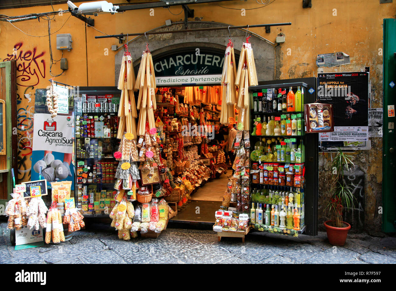 Pasta shop in the historic center, naples, Capania, Italy - Stock Image