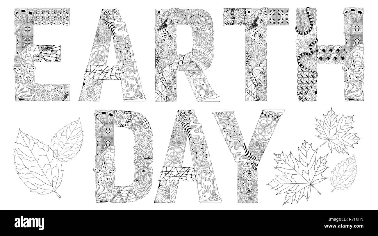 hand painted art design adult anti stress coloring page black and white hand drawn illustration words earth day for coloring book for anti stress R7F6FN
