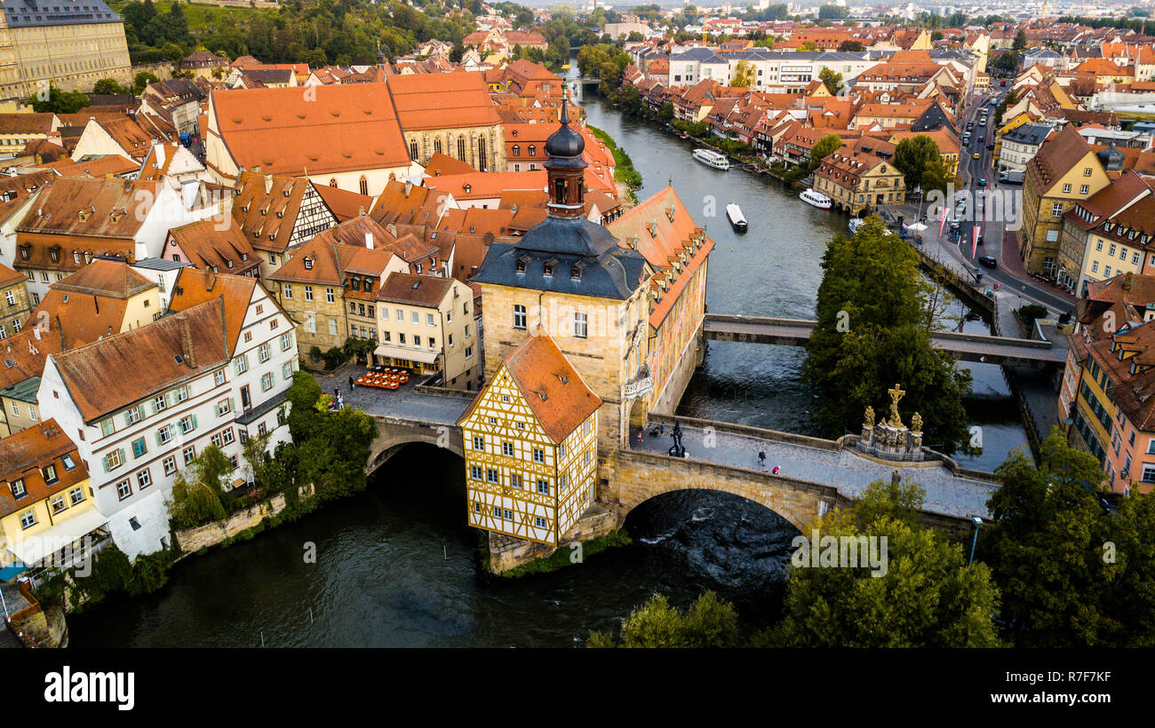 Old town hall or Altes Rathaus, Bamberg, Bavaria, Germany - Stock Image