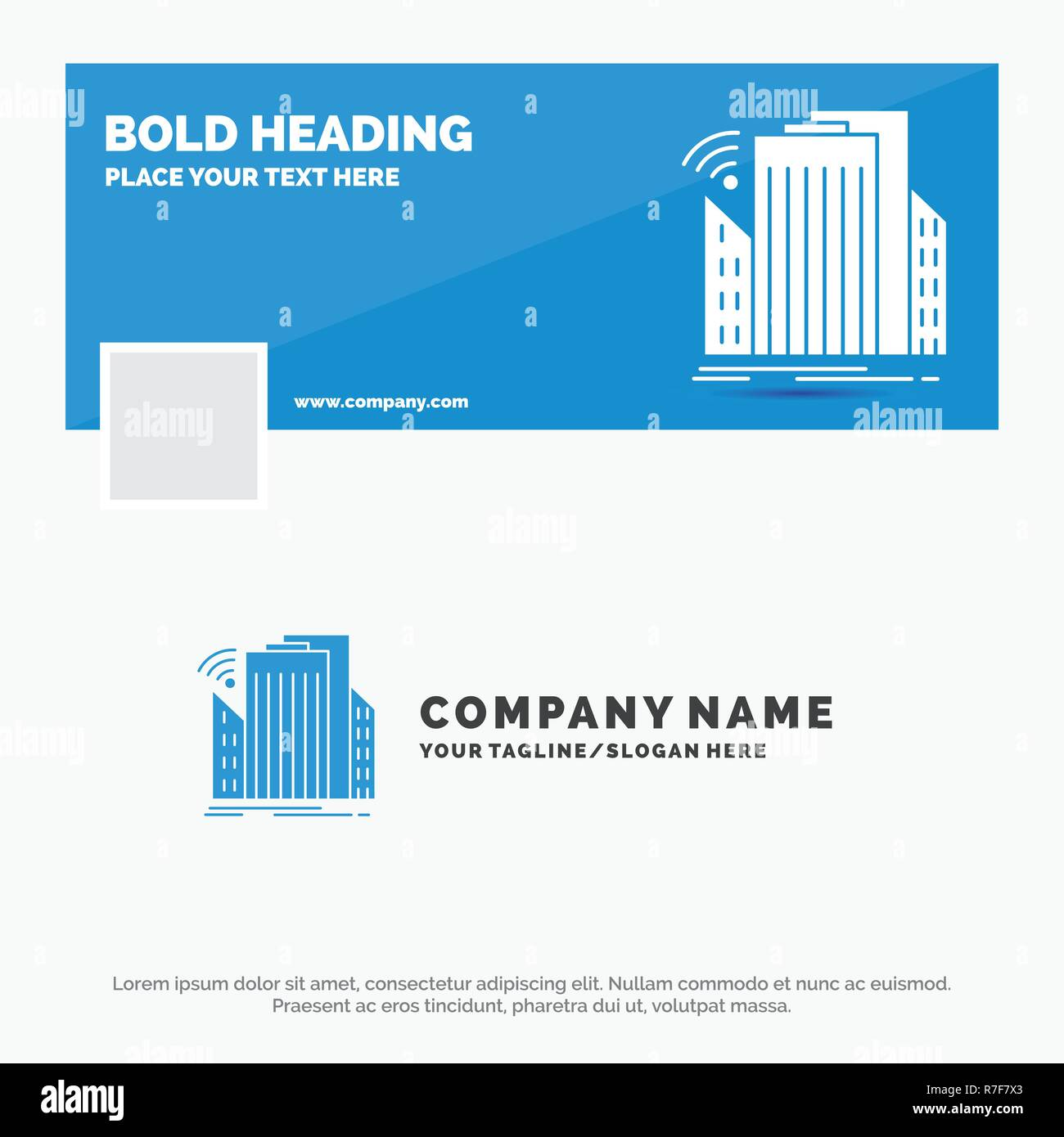 Blue Business Logo Template for Buildings, city, sensor, smart, urban. Facebook Timeline Banner Design. vector web banner background illustration - Stock Image