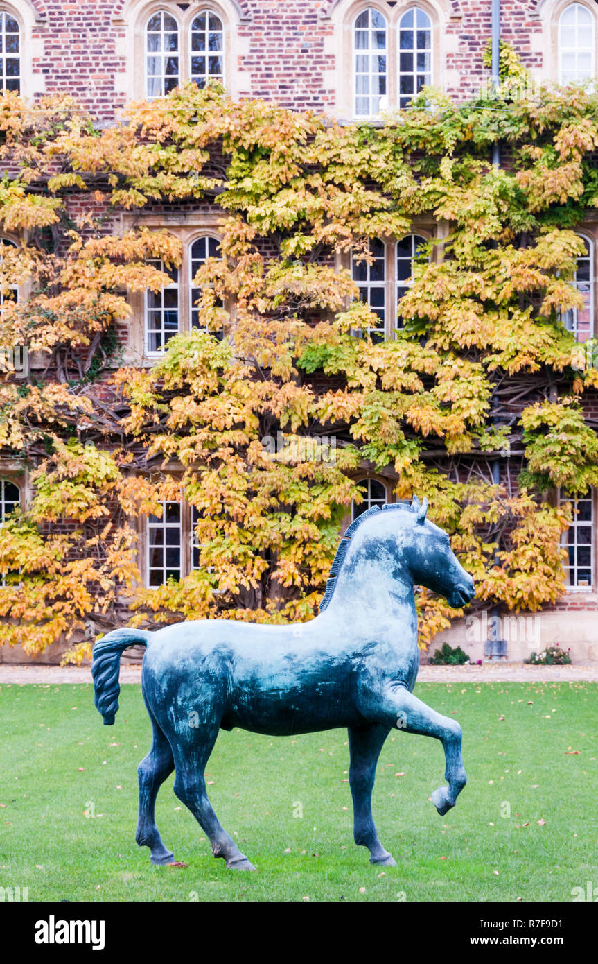 The First Court of Jesus College, Cambridge with Bronze Horse, a large sculpture by Barry Flanagan. Donated to the college in 2009. - Stock Image