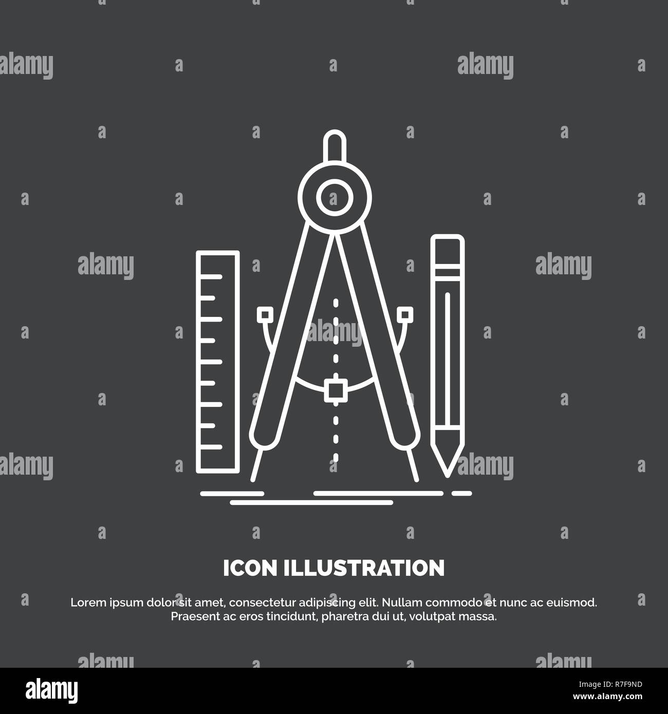 Build, design, geometry, math, tool Icon. Line vector symbol for UI and UX, website or mobile application - Stock Vector