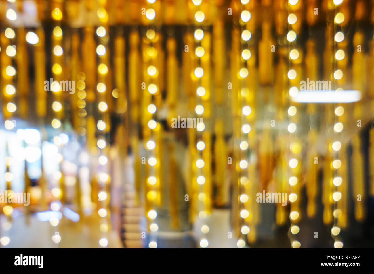 Abstract christmas lights shop windows. Bright circles bokeh from the lights of night windows. Illumination on shop, defocus and blur. Bokeh from the  - Stock Image