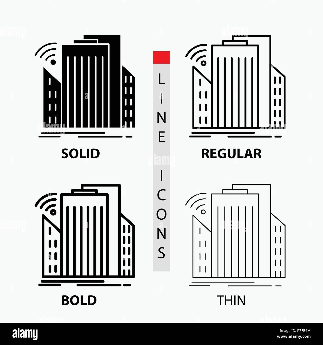 Buildings, city, sensor, smart, urban Icon in Thin, Regular, Bold Line and Glyph Style. Vector illustration - Stock Vector