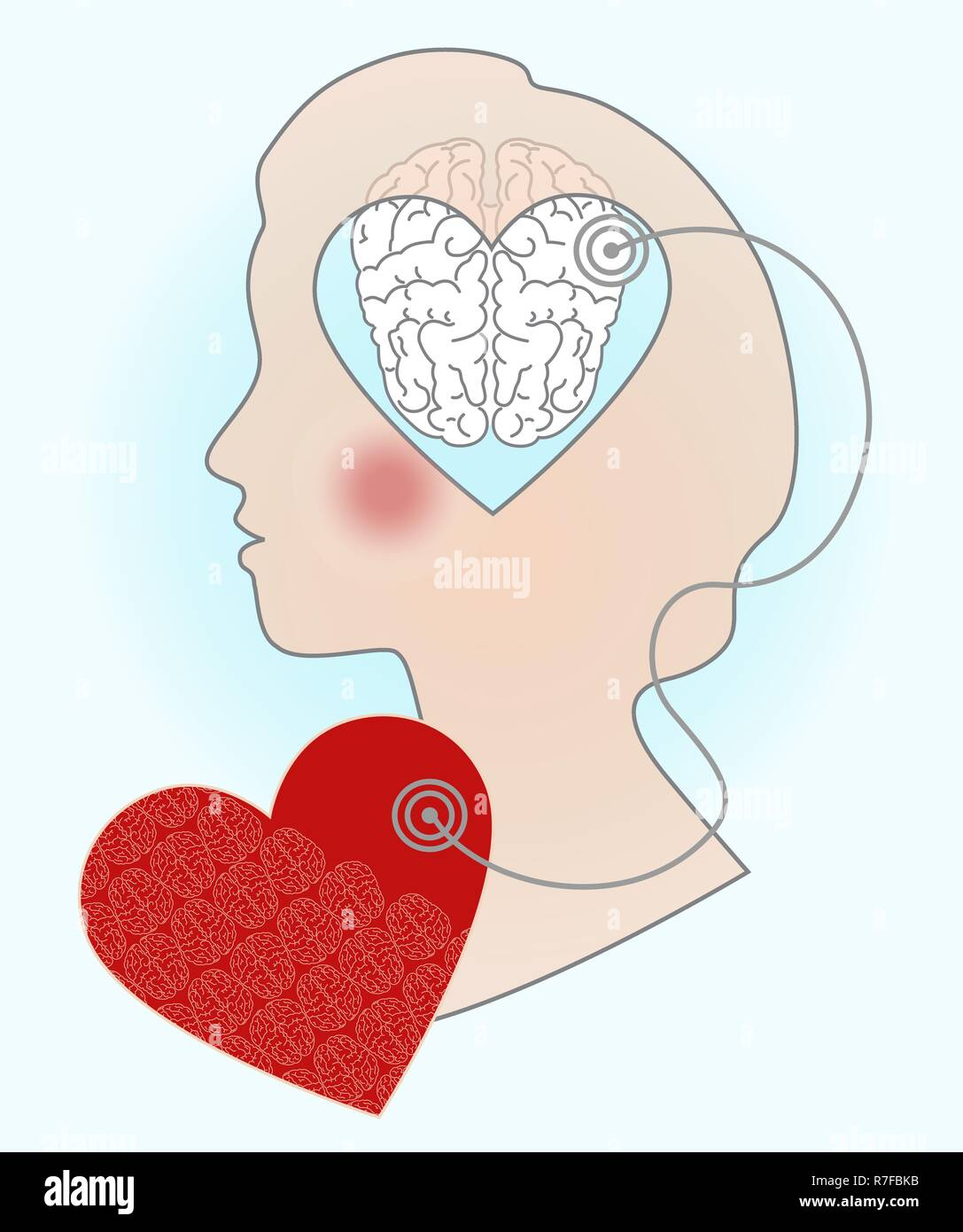 Silhouette of a girl's head, an illustration of the relationship of the brain and heart. Signals from the soul to the mind. - Stock Vector
