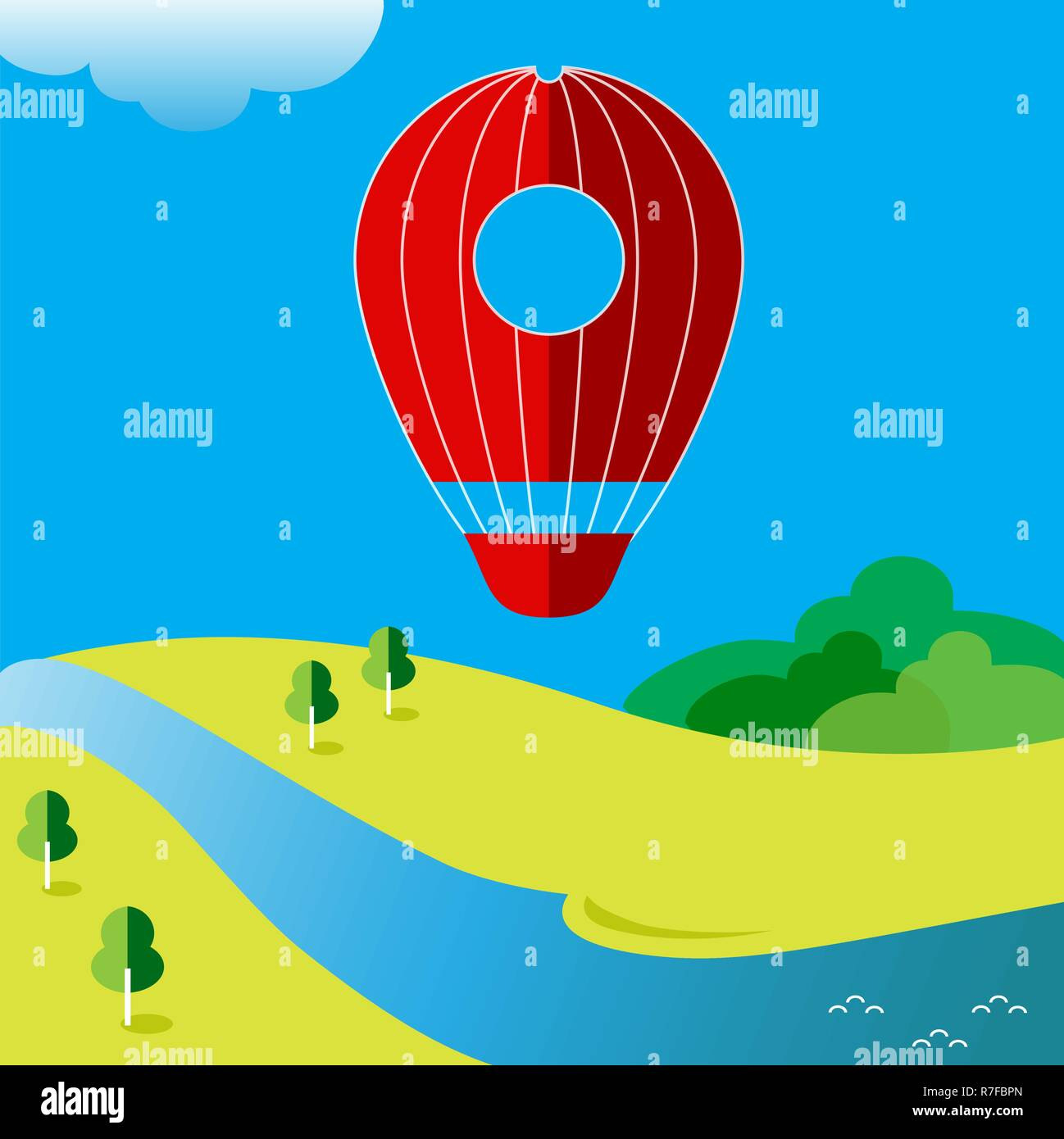 Vector illustration with a balloon on the background of the landscape - Stock Vector