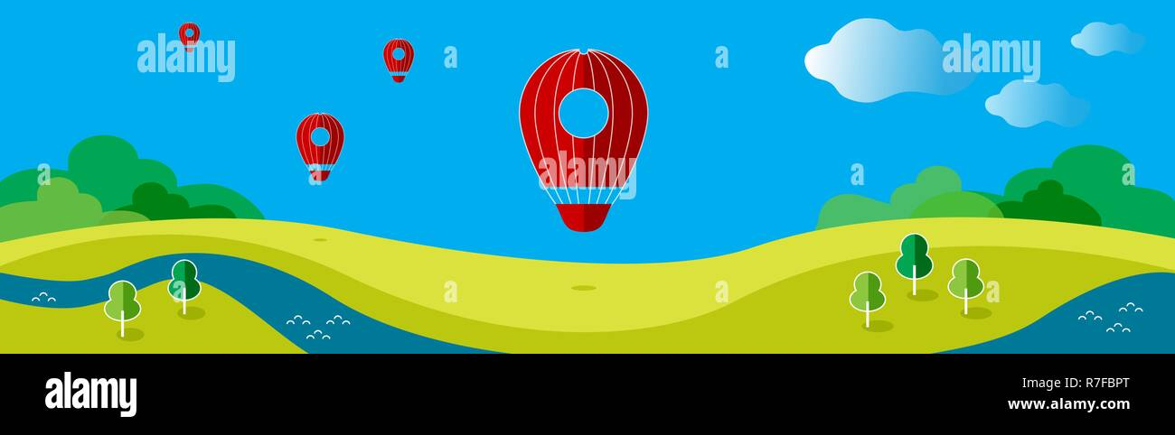 Vector illustration with a balloon on the background of the landscape. The cover of the site. - Stock Vector