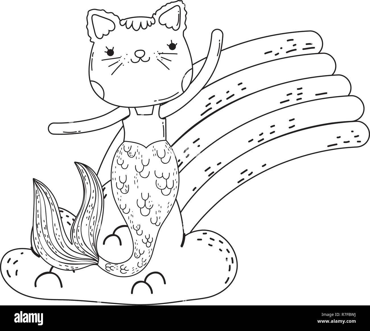 cute purrmaid with clouds and rainbow Stock Vector