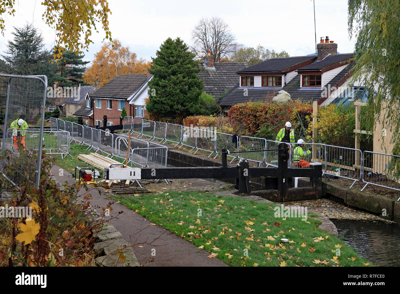 Work starts on rebuilding lock 11 on the Marple flight of locks on the Peak forest canal. The stone walls of the lock moved inwards so boats can't fit. - Stock Image