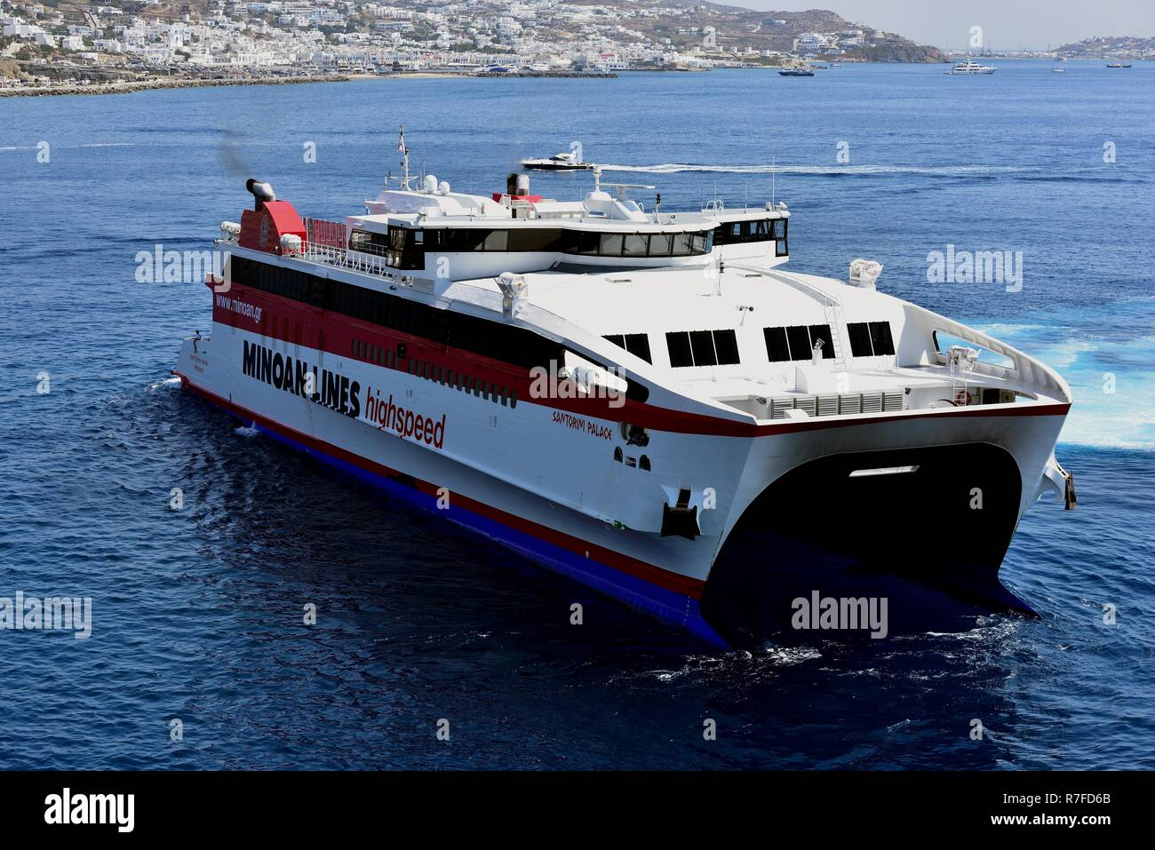 Port Of Mykonos Greece 6th July 18 Minian Lines Highspeed Ferry