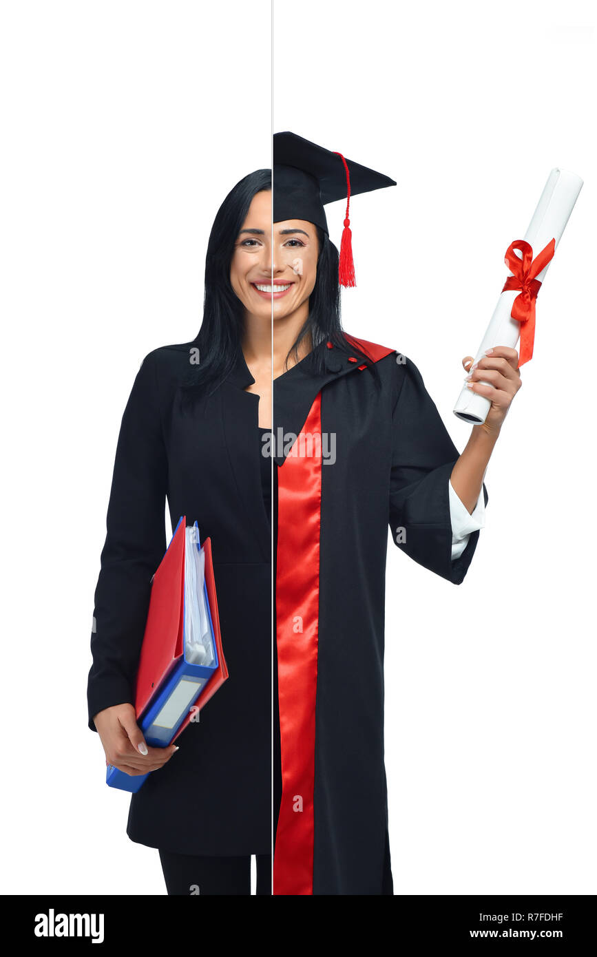 Will This Student Graduate White And >> Happy Woman In Two Occupations Of Accountant And University Graduate