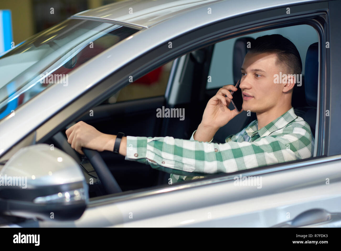 One Owner Car Guy >> Young Attractive Driver Talking On Phone While Riding Handsome