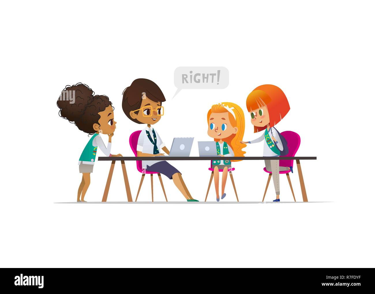 Happy girl scouts and female troop leader learning programming during lesson, Concept of coding for children in scouting camp. Vector illustration. - Stock Image