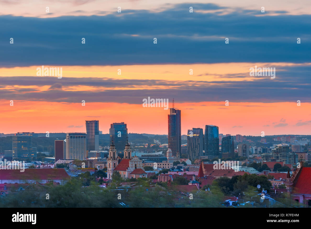 Old town and skyscrapers, Vilnius, Lithuania Stock Photo
