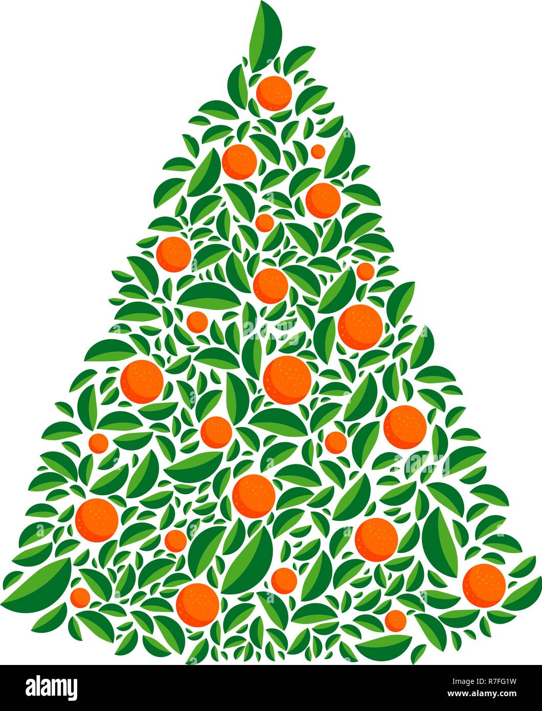 Vector christmas green tree with orange balls. Isolated vector illustration.Christmas and New year. Cartoon greeting card, festive poster or party inv - Stock Vector