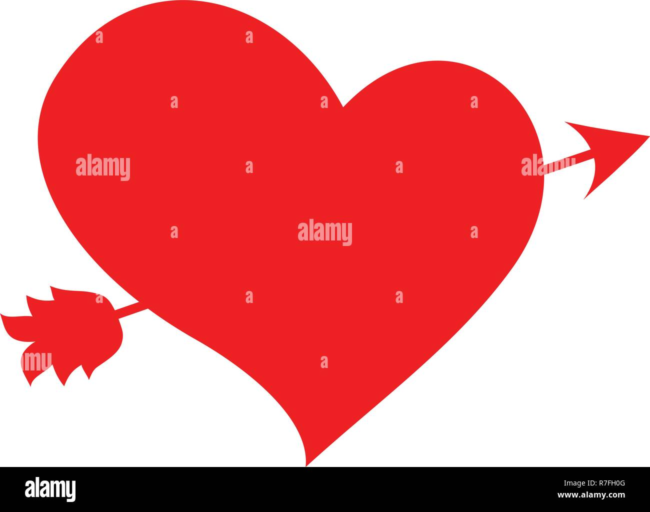 Arrow Heart Icon Red Love Line Sign Valentines Day Symbol Isolated
