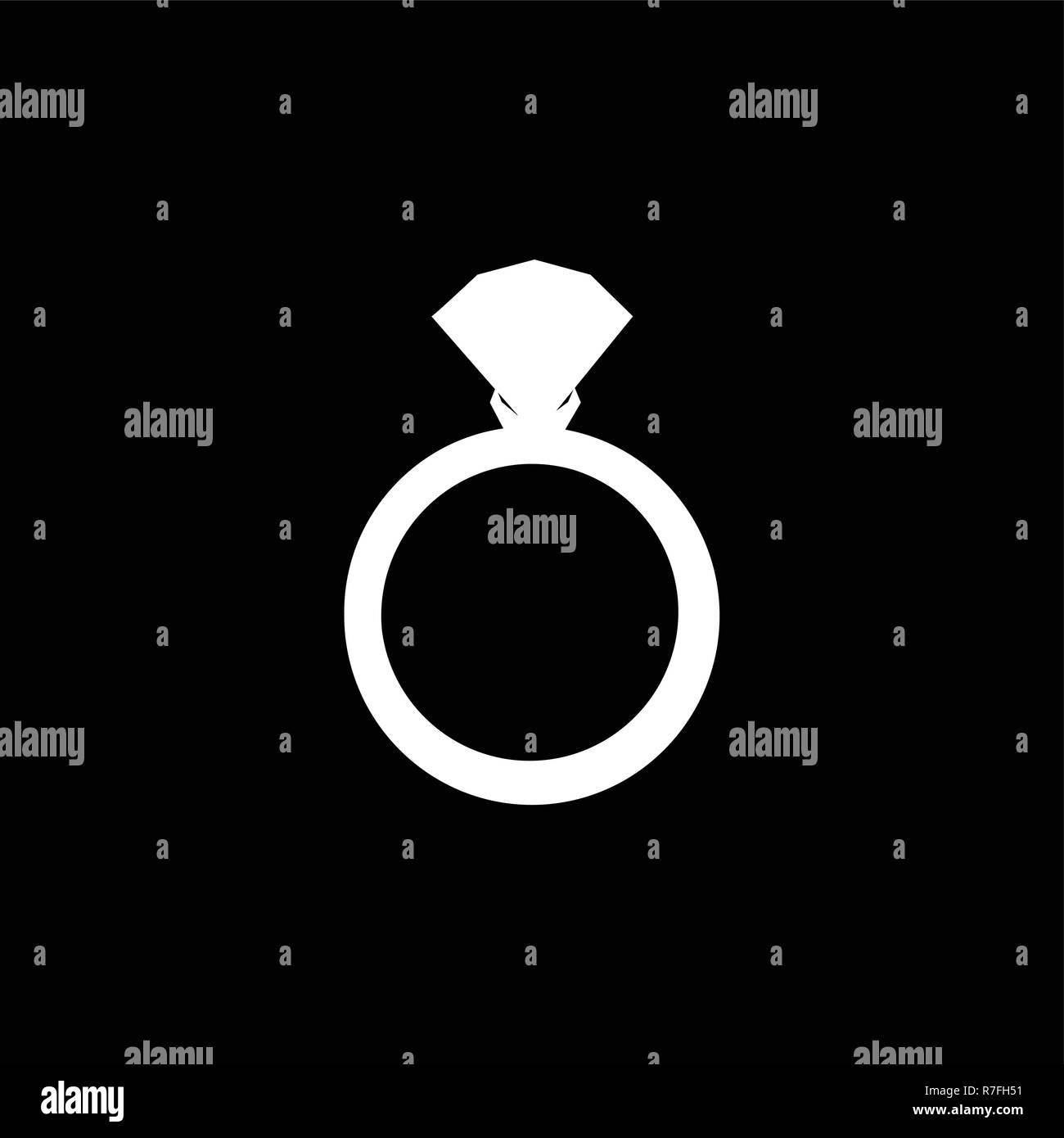 Vector white silhouette of engagement ring with diamond isolated on black background. Wedding or marriage present icon, sign, symbol, clip art isolate - Stock Image