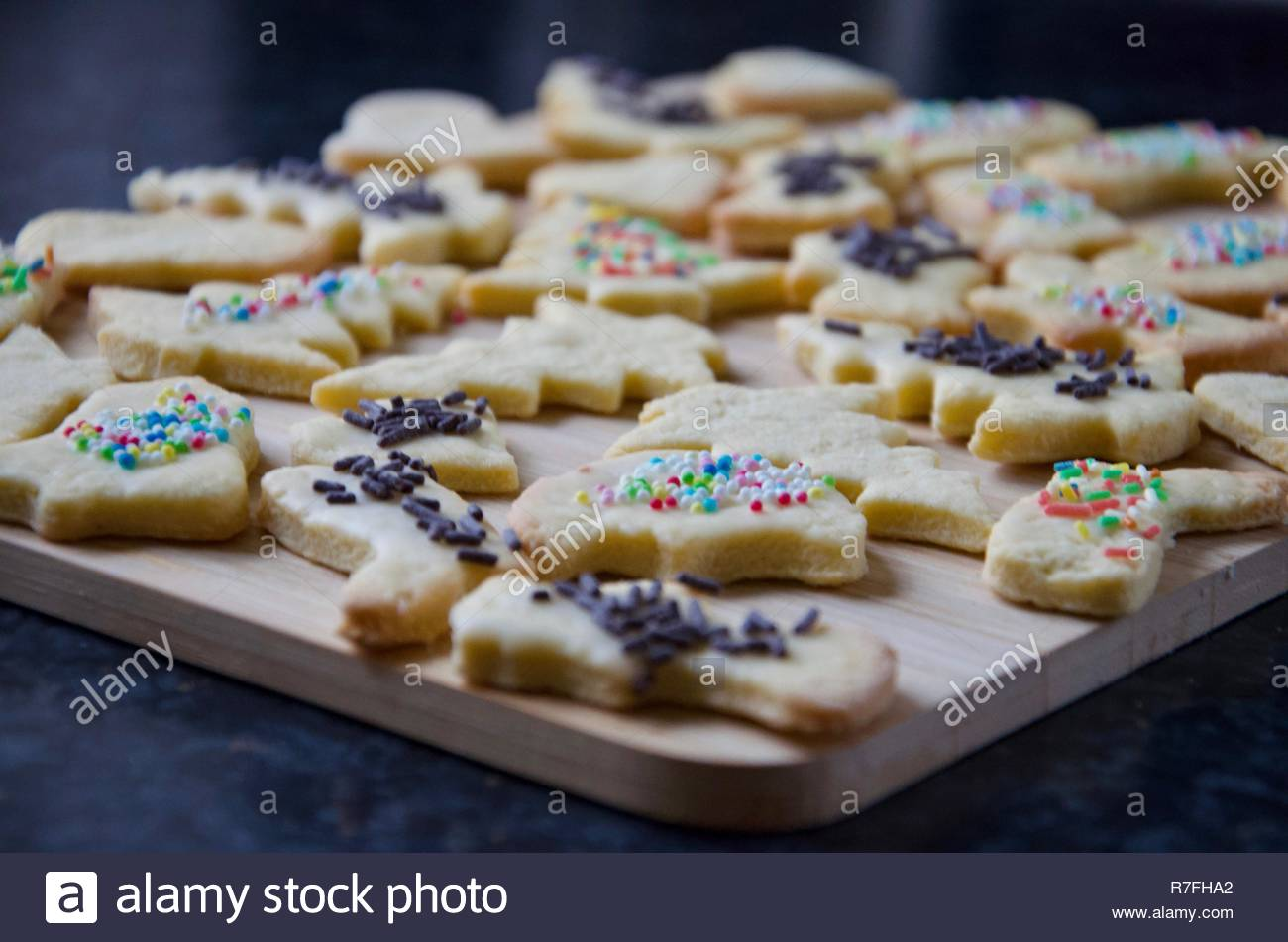 Traditional German Christmas Cookies On A Wooden Board Butter