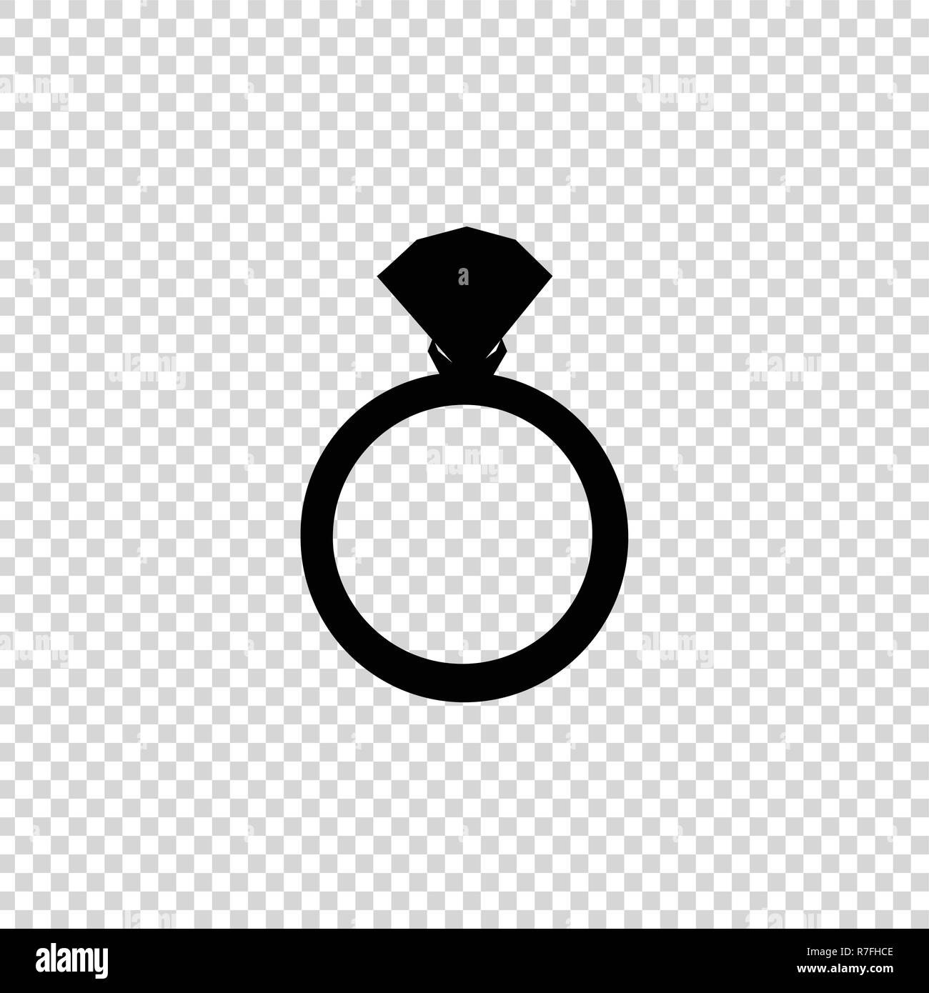 Vector Black Silhouette Of Engagement Ring With Diamond Isolated On