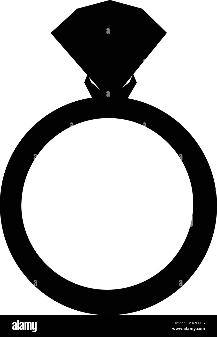 Vector black silhouette of engagement ring with diamond isolated on white background. Wedding or marriage present icon, sign, symbol, clip art isolate - Stock Image