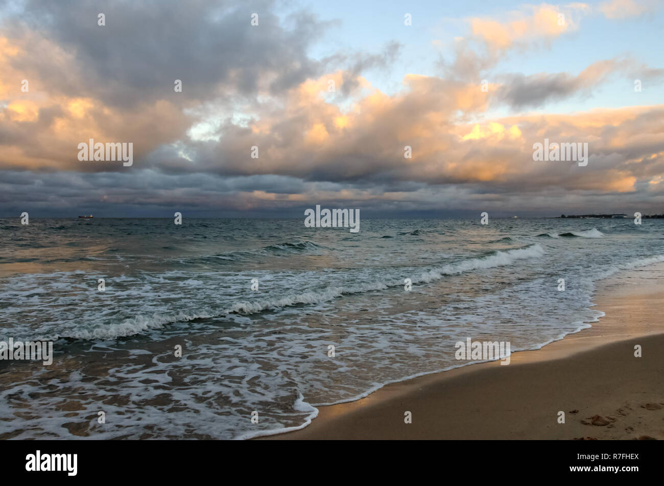 Baltic Sea, Gdańsk, Poland, water, waves, beach, sunsets, clouds, whirling clouds - Stock Image