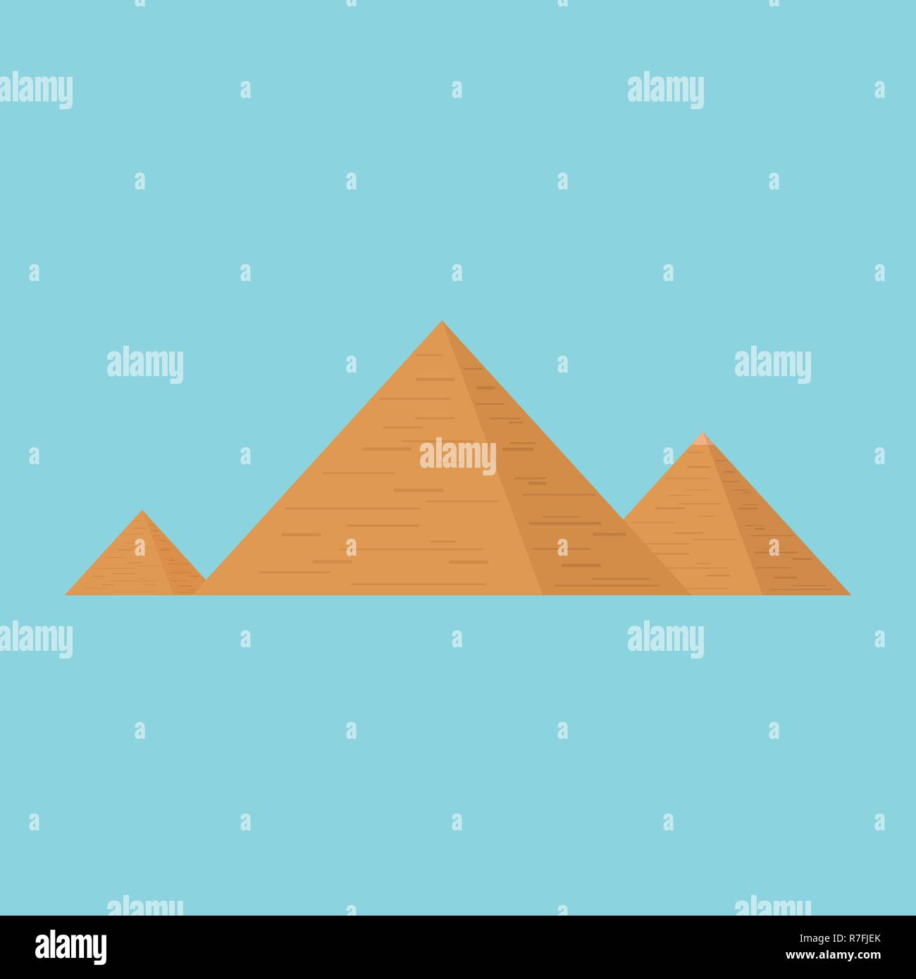 Pyramids flat design icon with blue background. - Stock Vector