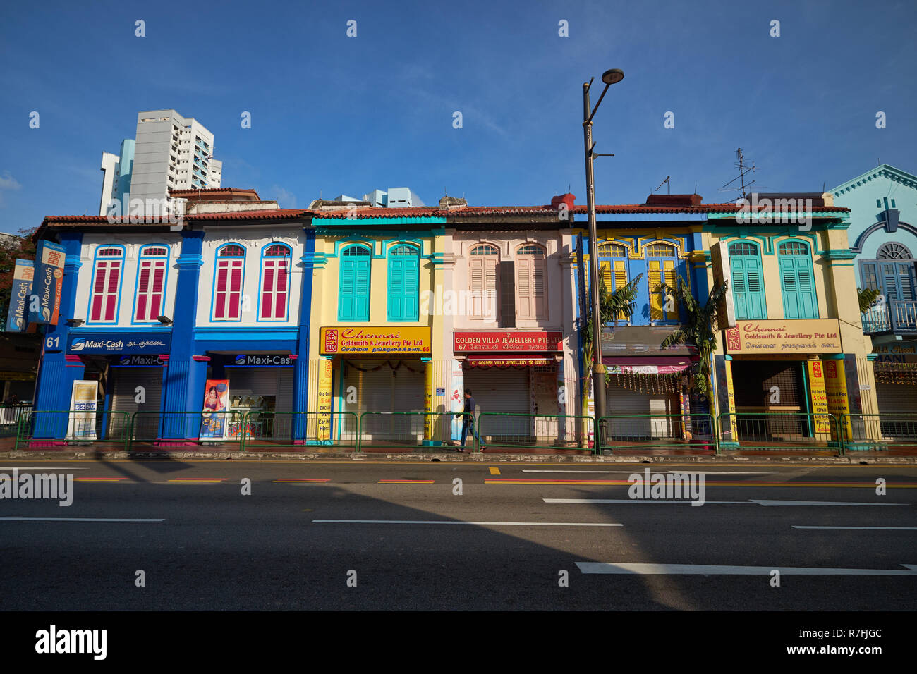 Renovated shophouses along Serangoon Road in Little India area, Singapore - Stock Image