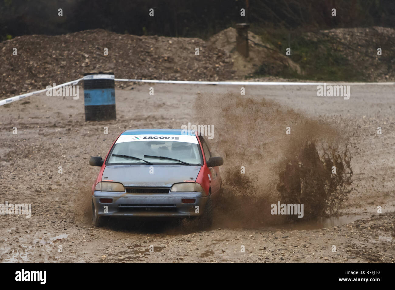 Sveta Nedjelja, Croatia - November 25, 2018. 9th Rally Show Santa Domenica. Vjekoslav Stubican and Josip Popovic from Croatia racing in the Suzuki Swi - Stock Image