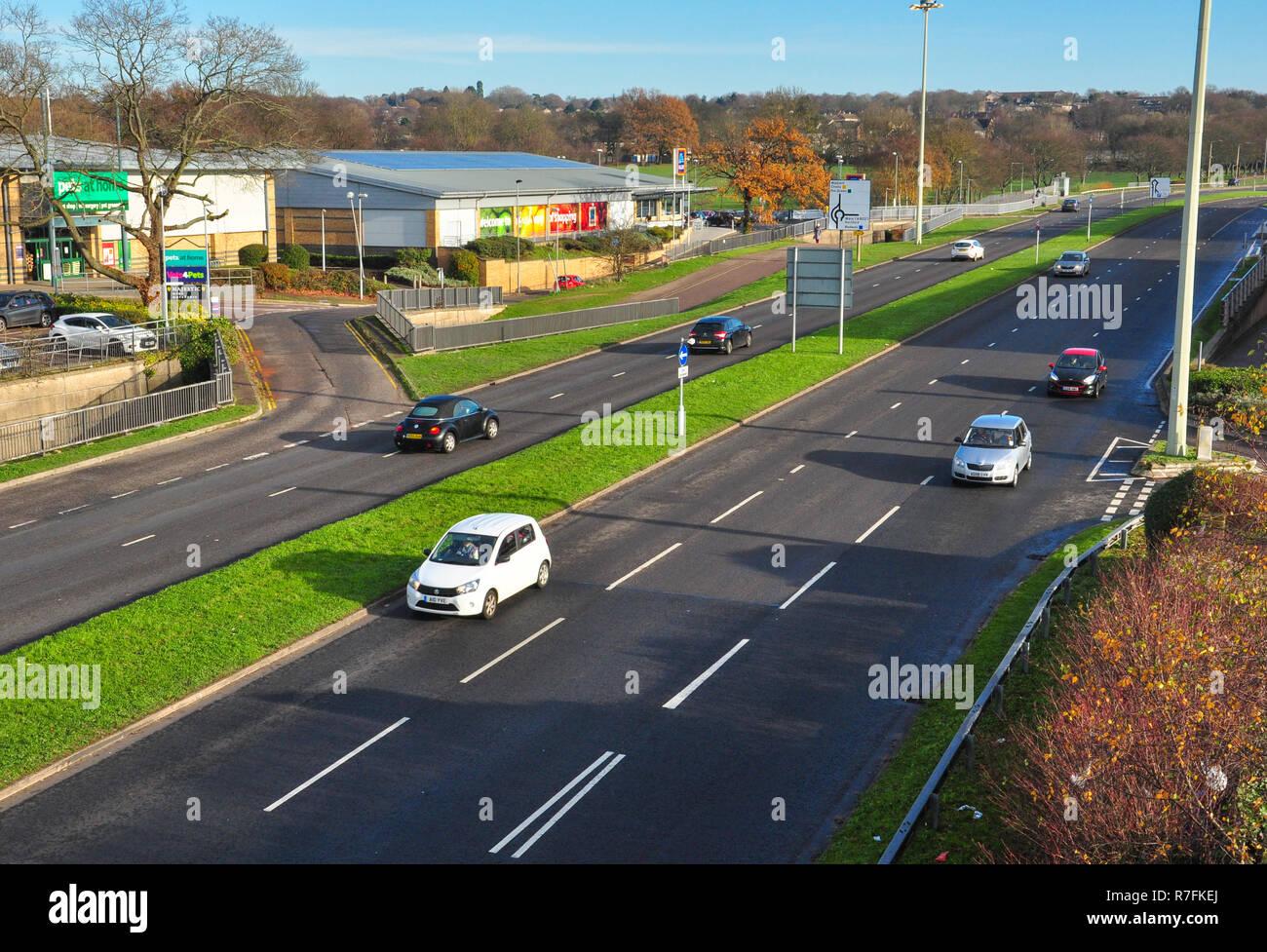 Road traffic on urban dual carriageway, Stevenage, Hertfordshire, England, UK - Stock Image