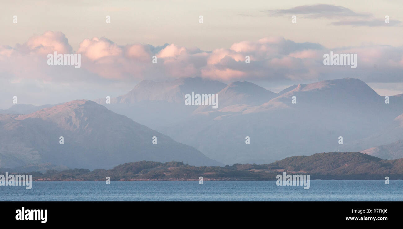 Landscape format. Views from Auchnacraig over Grasspoint and towards Oban on the mainland, Grasspoint, Mull, Isle of Mull, Argyll and Bute, Scotland Stock Photo
