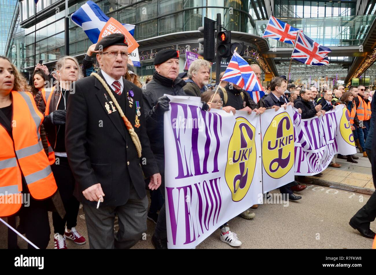 Brexit betrayal UKIP march with tommy robinson in central london 9th december 2018 - Stock Image