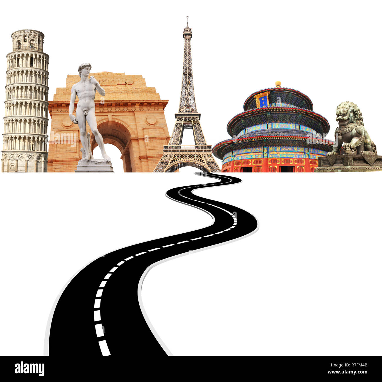Famous monuments of the world and road. Isolated on white background. - Stock Image