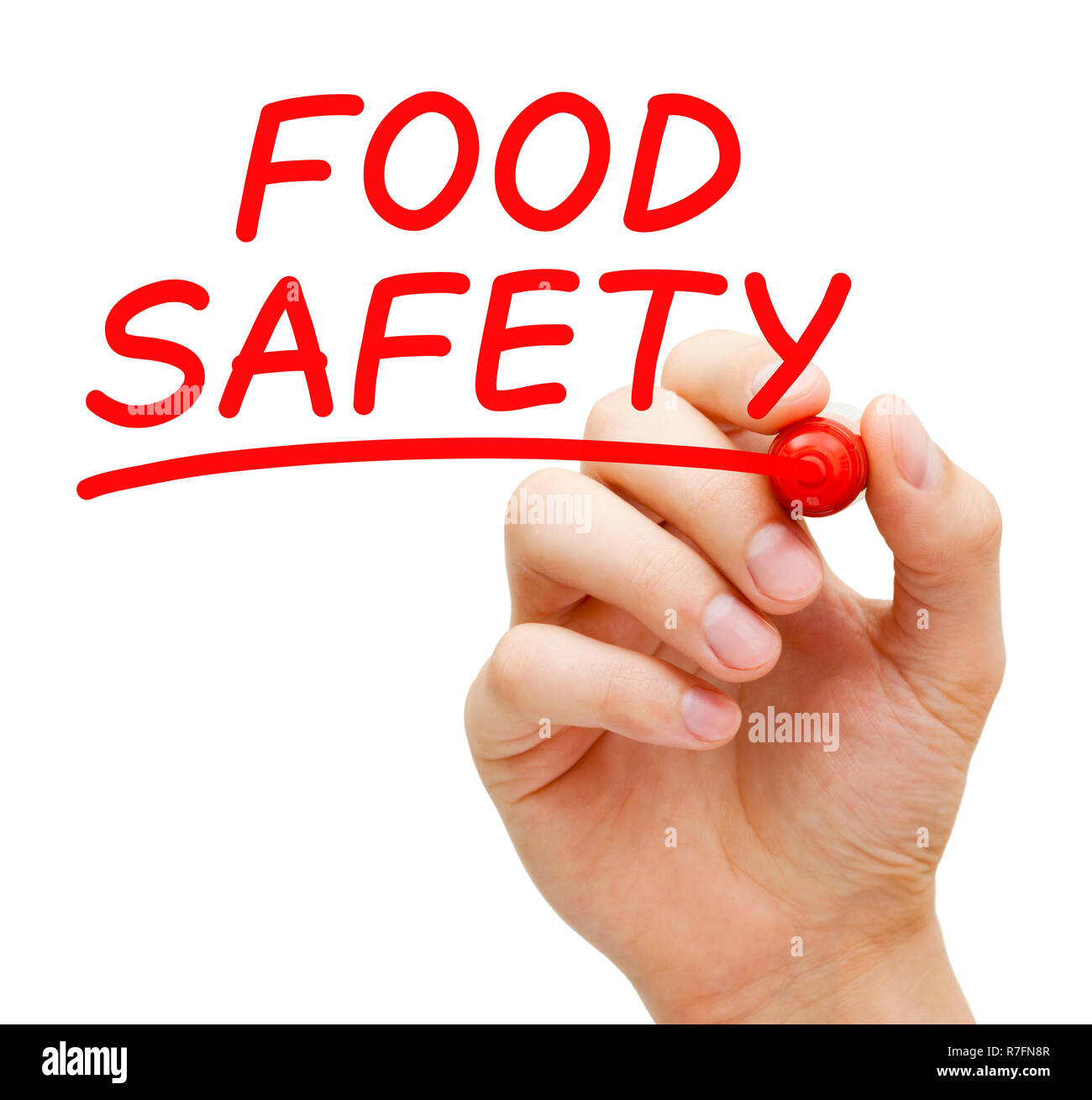 Hand writing Food Safety concept with red marker on transparent wipe board isolated on white. - Stock Image