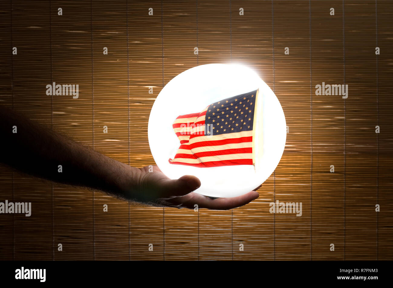 Fortune Teller with Crystal Ball looking at the Future of America - Stock Image