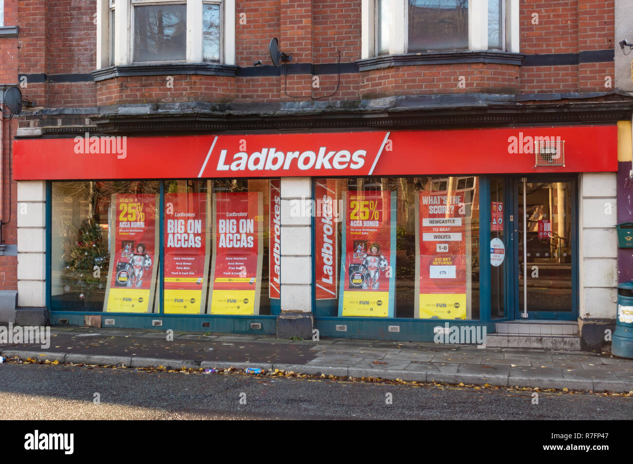 Ladbrokes betting shop in Radcliffe, Manchester. - Stock Image